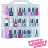 48 Bottles Universal Clear Gel Nail Polish Organizer Case Holder for Double Side Adjustable Space Divider for Acrylic…