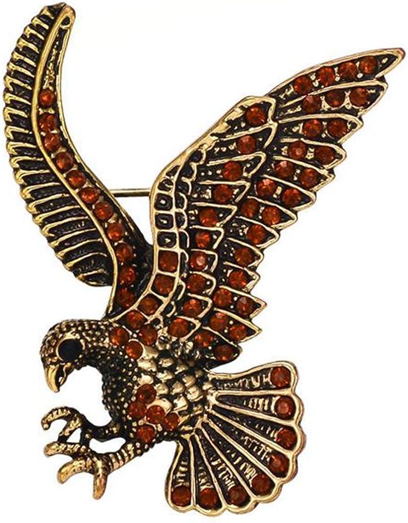 Gudeke Águila Alas Cuerpo Broche y Alfiler Aleación Rojo Diamante de Imitación Cristal para los Hombres Joyas, oro-tono