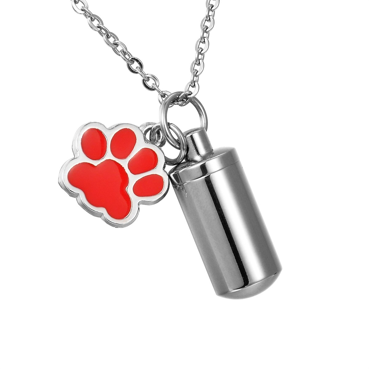 HooAMI Pet Dog Paw Charm & Cylinder Memorial Urn Necklace Stainless Steel Cremation Jewelry TY BETY95025