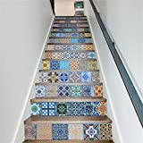 CaseFan 3D Self-adhesive Retro Ceramic Tiles Patterns Vinyl Staircases Sticker for Stairway Removable Decoration Nursery Decal Paper 100x18cm13PCS/set