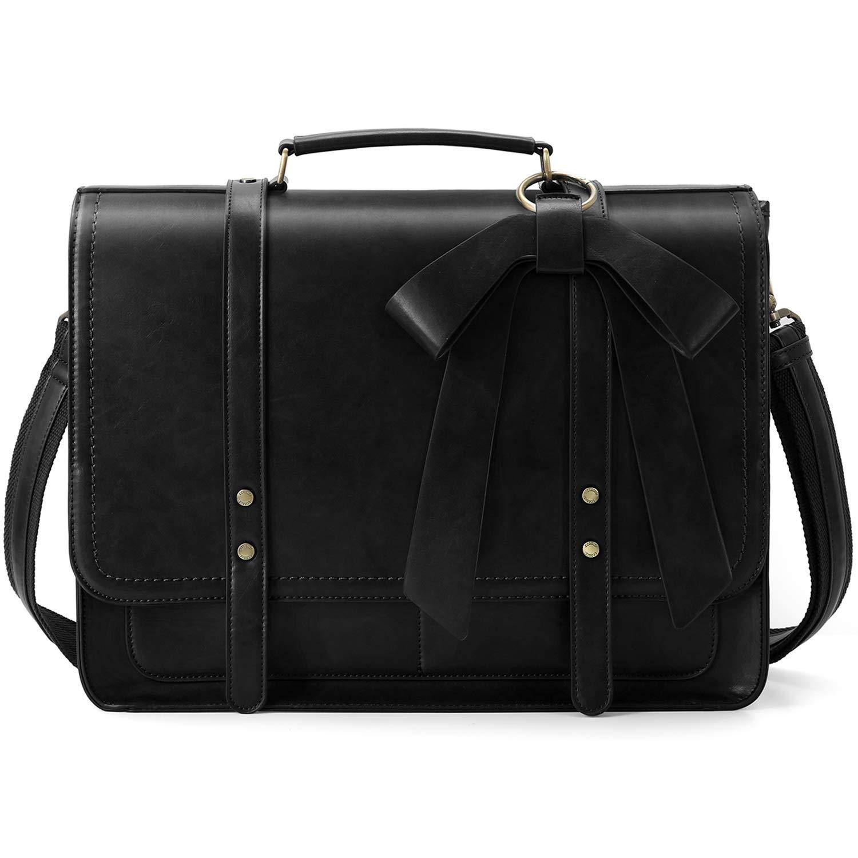 ECOSUSI Women Briefcase PU Leather Laptop Shoulder Satchel Computer Bag with Detachable Bow fits 15.6 inch Laptops, Black
