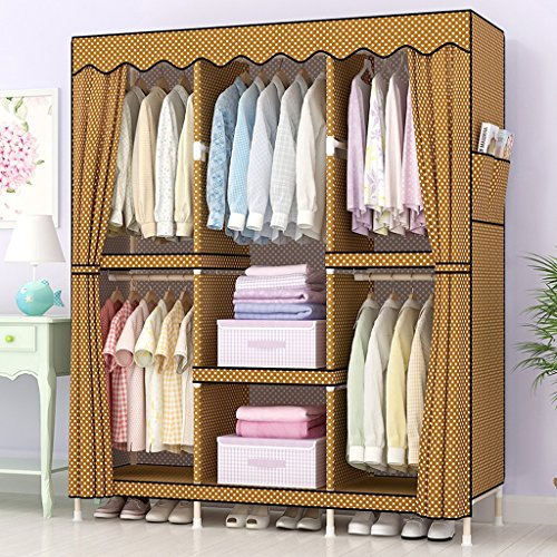 Storage Cabinets cloth wardrobe Double People Solid Wood Combination Cloth Wardrobe,Hanger/7 Grid living room (Color : Golden Brown)