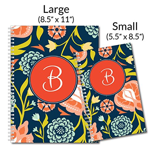 Sophisticated Floral Personalized Monogram Spiral Notebook/Journal, 120 College Ruled or Checklist Pages, durable laminated cover, and wire-o spiral. 8.5x11 | 5.5x8.5 | Made in the USA Photo #4