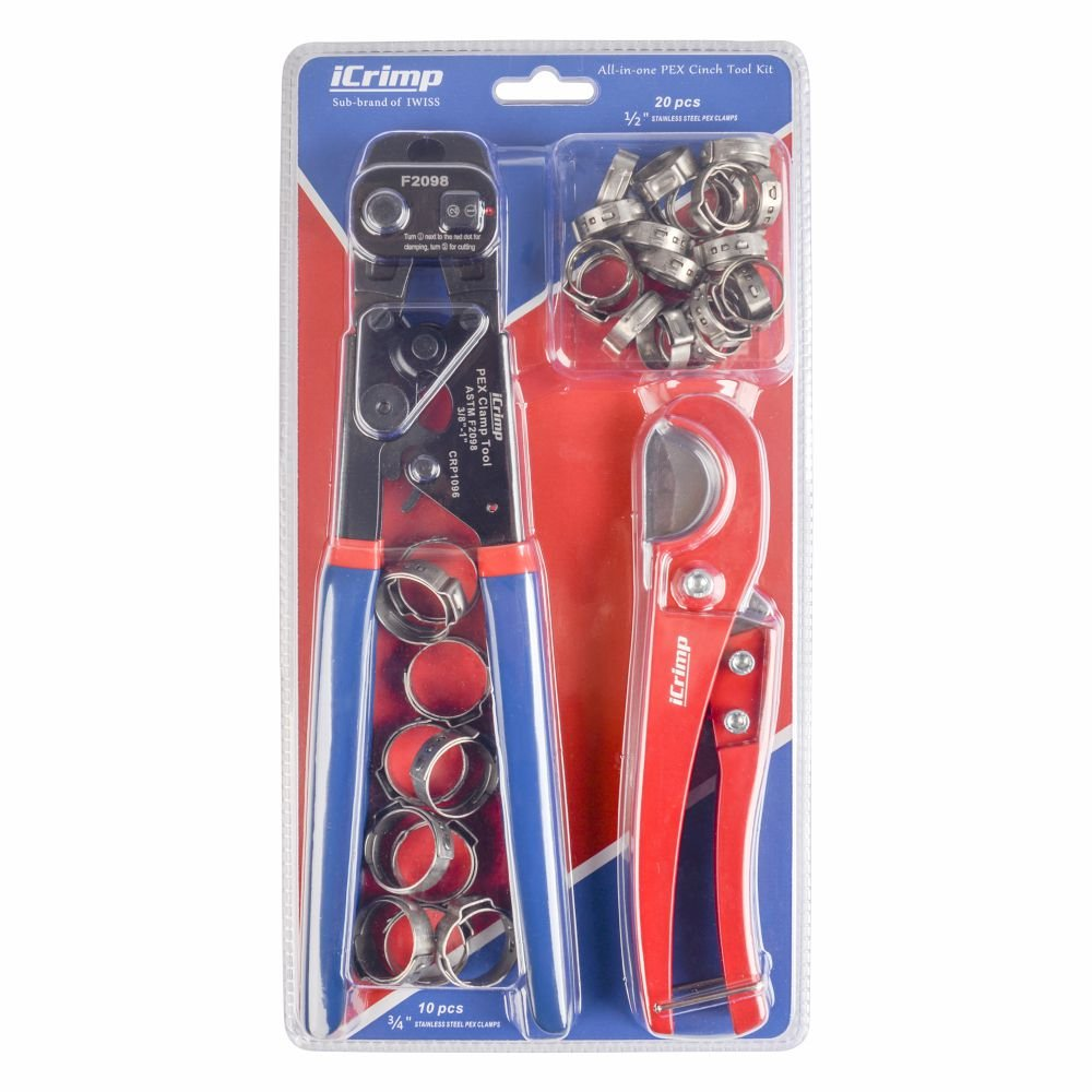 iCrimp PEX Cinch Tool with Removing function for 3/8-inch to 1-inch Stainless Steel Clamps with 1/2-inch 20PCS and 3/4-inch 10PCS SS PEX Clamps and Pex Pipe Cutter- All in One by iCRIMP