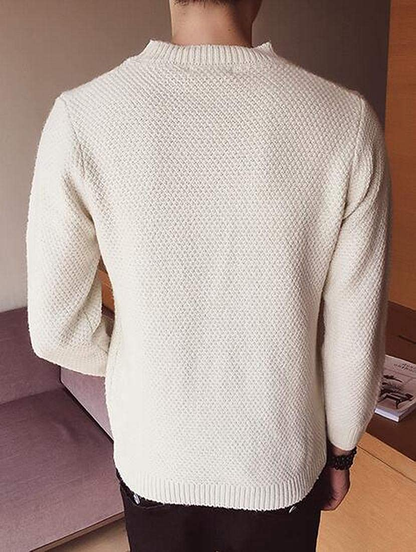 XiaoTianXinMen XTX Mens Embroidery Casual Crew Neck Slim Long Sleeve Pullover Sweater Jumper