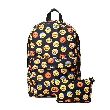 colores y llamativos venta caliente real nueva productos calientes Mochila Emoji negra con estampado de emoticonos Whatsapp y ...