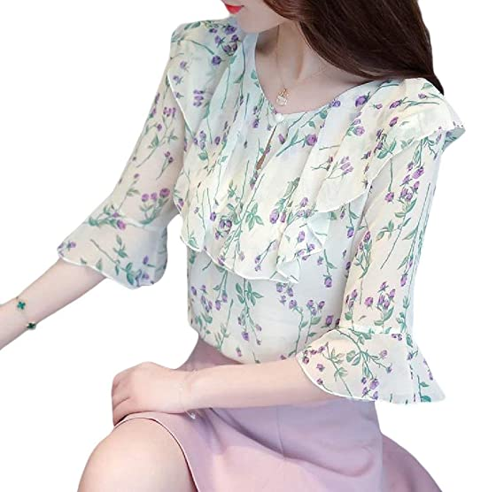 d773821ef Zimaes-Women Lotus Leaf Chiffon V-Neck Lace Floral Pattern Thin Tops Blouse  Green