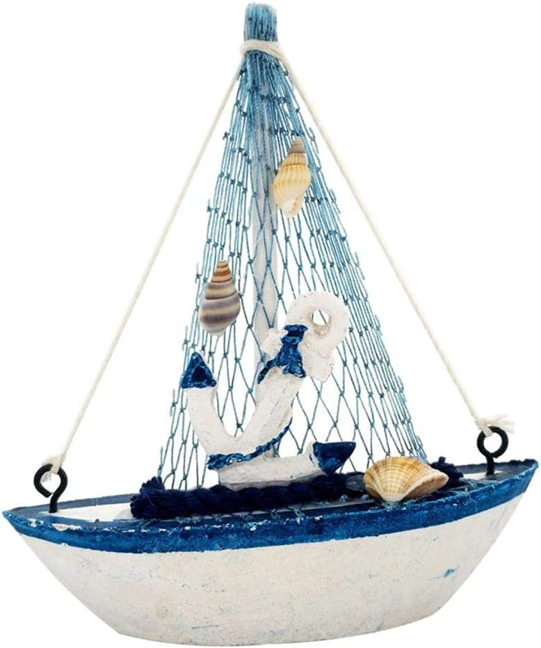 joyMerit Wooden Sailing Ship Model, Vintage Handmade Wood Sailboat Model Nautical Decor for Tabletop Ornament, Photo Props - Boat Anchor