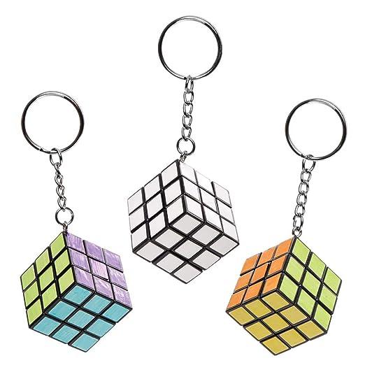 Baker Ross- Llaveros con puzles cúbico para colorear (Pack de 4 ...