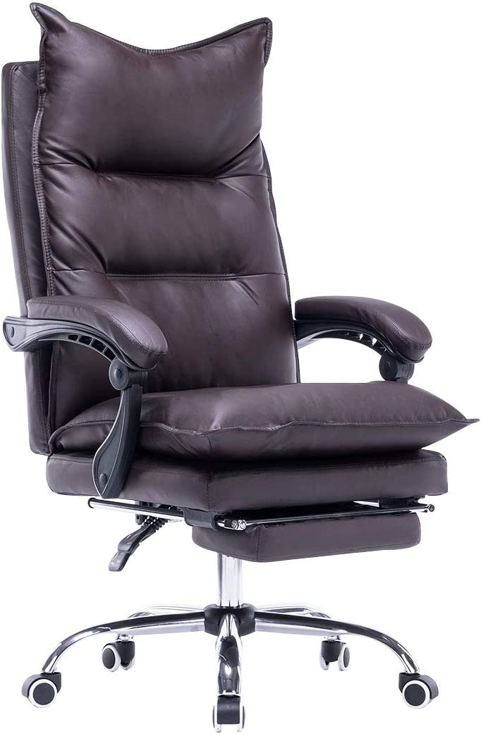 YOLENY High Back Office Chair,PU Leather Executive Desk Chair, Adjustable Ergonomic Swivel Task Chair with Padded Armrests,Foot Rest