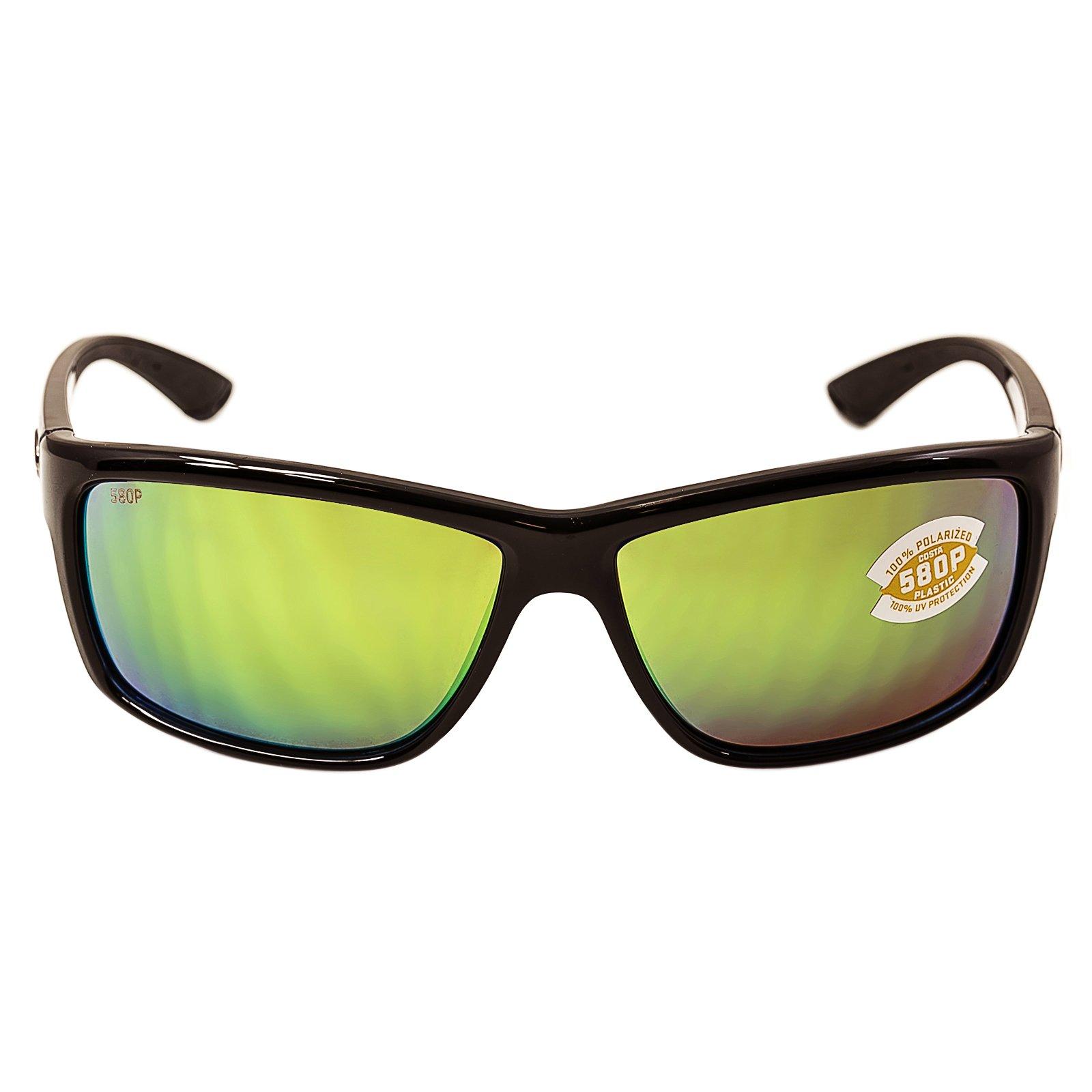 Costa Del Mar Mag Bay Sunglasses, Shiny Black, Green Mirror 580P Lens by Costa Del Mar