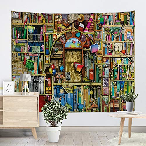 - UHUSE Childlike Bookshelf Bookcase Tapestry-Wall Hanging for Children Book Lover Bookshelf in Library Bedroom Living Room Dorm Wall Hanging Tapestry(59X79 Inches)