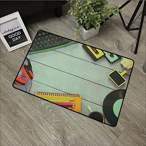Bathroom anti-slip door mat W35 x L47 INCH Indie,Eighties Style Objects Over Wooden Table Typewriter Cassettes Record Headphones Image, Multicolor Easy to clean, no deformation, no fading Non-slip Doo (Expert Cassette)