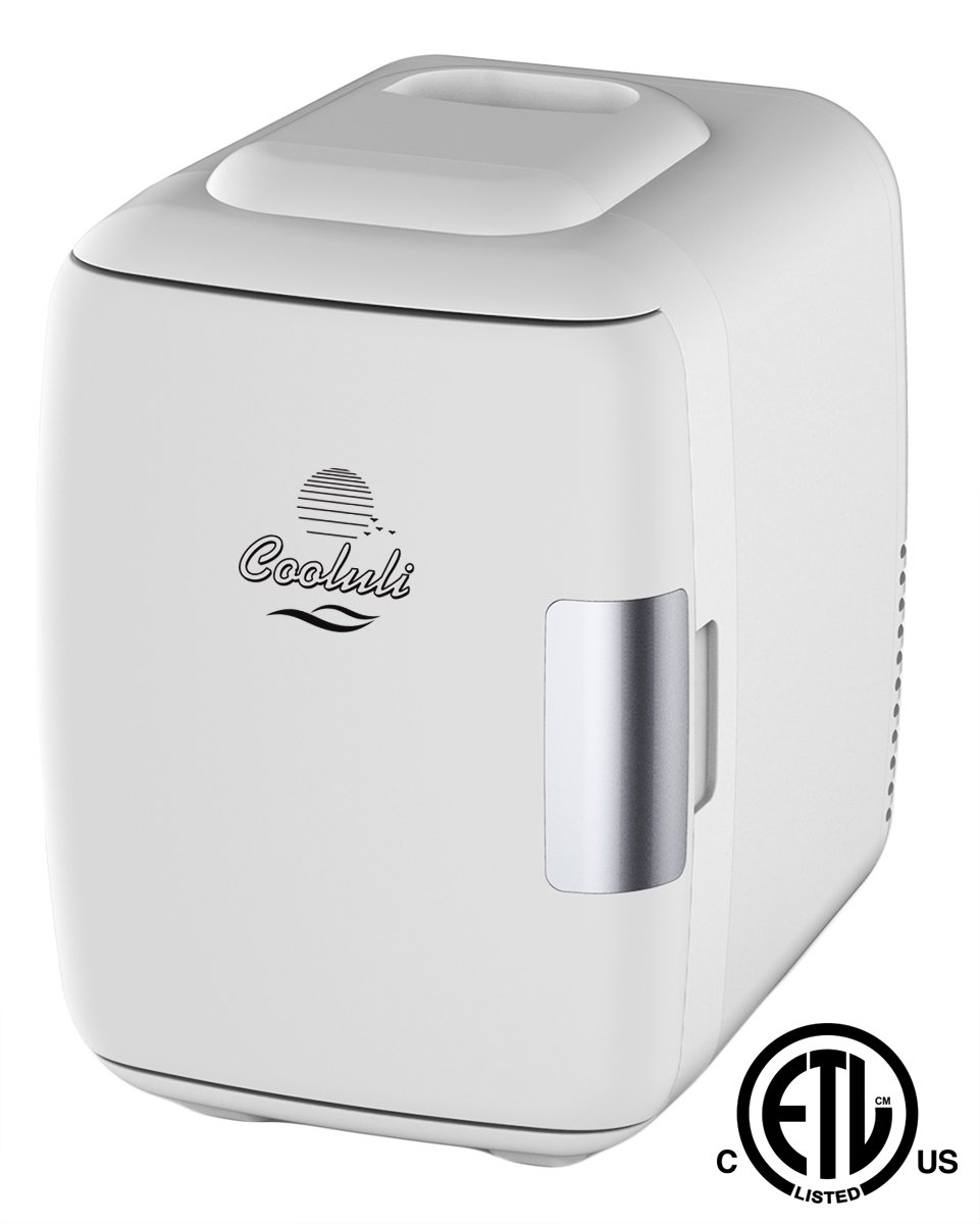 Cooluli Mini Fridge Electric Cooler And Warmer (4 Liter/6 Can): Ac/Dc Portable Thermoelectric System W/Exclusive On The Go Usb Power Bank Option (White) by Cooluli