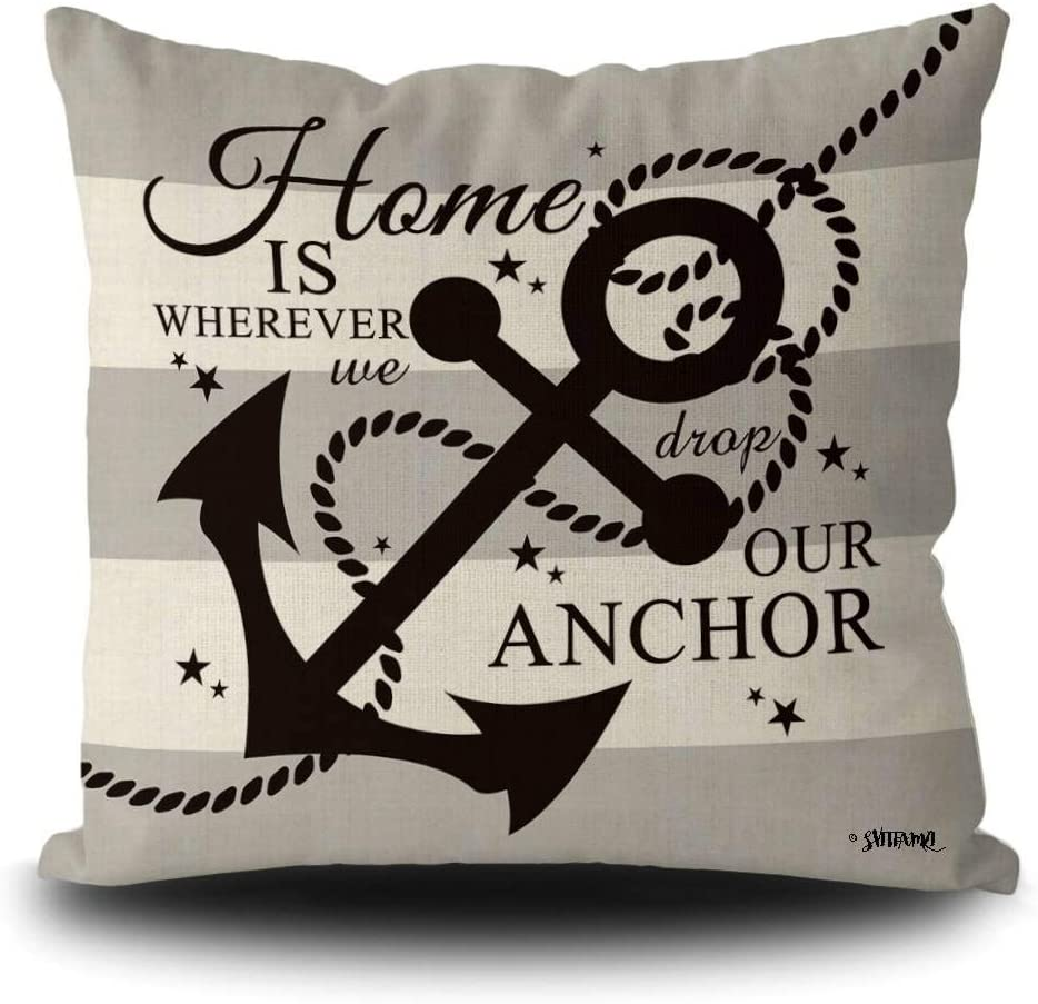 SVITFAMLI Nautical Black Anchor Rustic Pillow Case Home is Where We Drop Our Anthor Summer Seasonal Decor Throw Cushion Cover 16 x 16 Inch Linen Square Pillowcase for Sofa Couch
