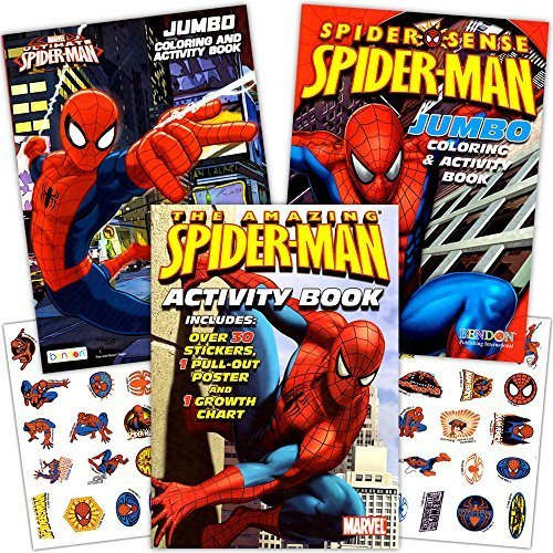 Marvel Spiderman Coloring Book Set with Stickers and Posters (3 Books) Marvel Spider Man Sticker