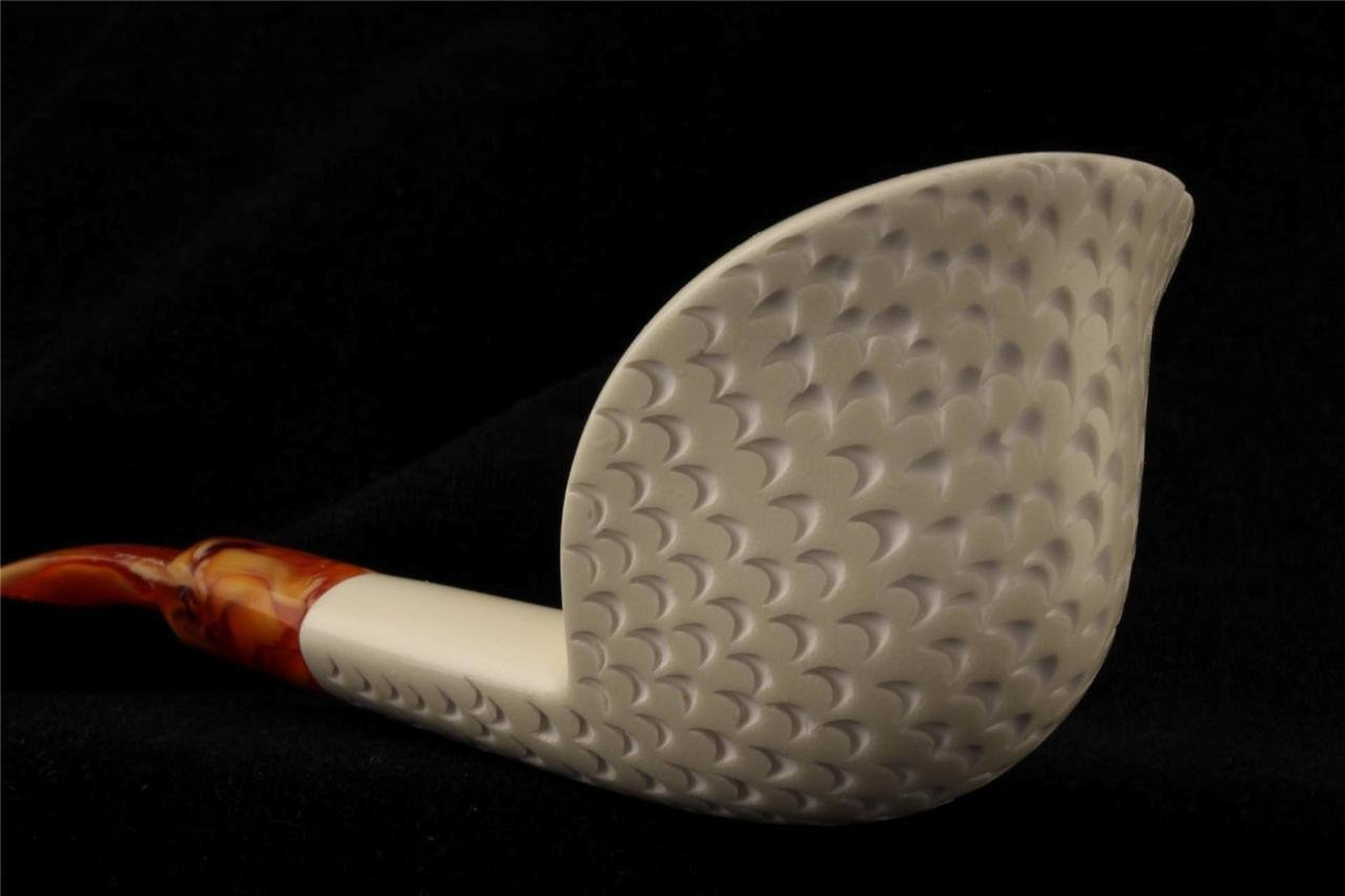 Meerschaum Pipe - Cobra Designed & Carved & Signed by Master Carver Emin Brothers - Tobacco Smoking Pipe Hand Made from the Finest Block Meerschaum - New