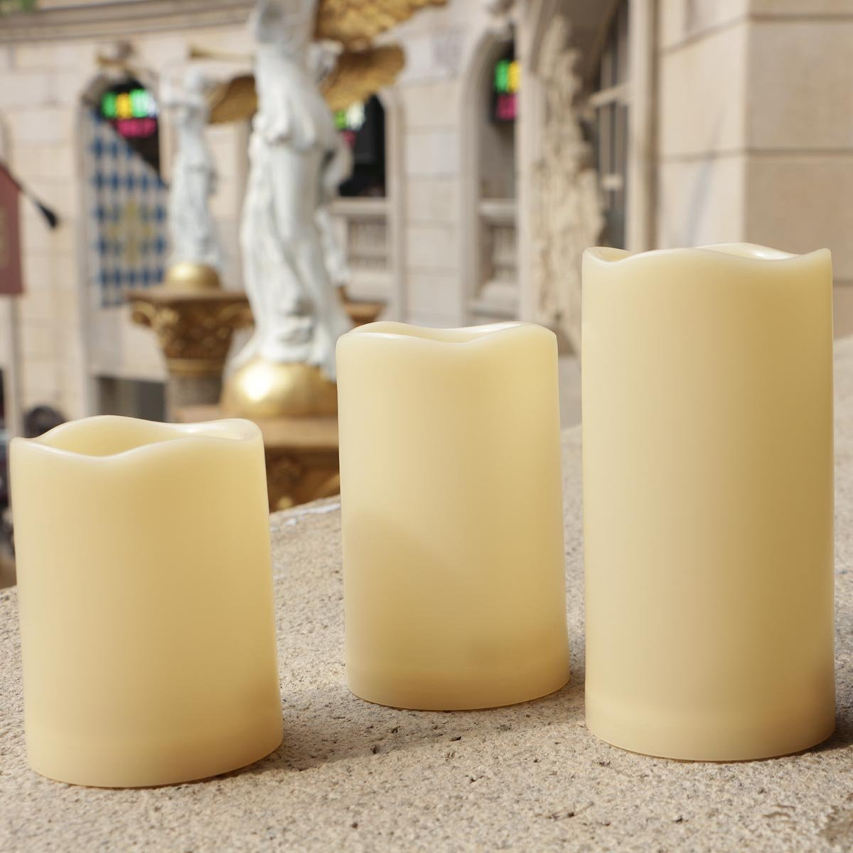 Outdoor Flameless Pillar Candles Set of 3,Waterproof Realistic Flickering Led Battery Operated Electric Candles with Timer 3''(4'',5'',6'')