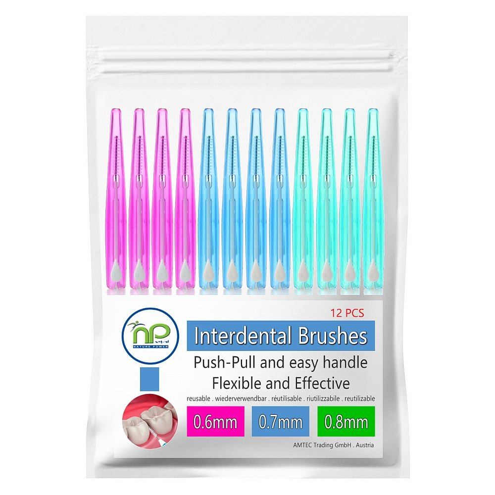 NP-Vital 12x cepillos interdentales 0.6/0.7/0.8 mm o en la mezcla - cepillado higiénico push-pull technology tooth space (3x4 piezas en la mezcla)