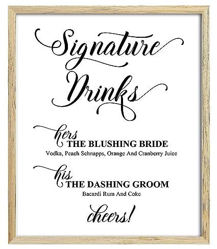 Wedding Signature Drinks.Amazon Com Custom Wedding Bride And Groom Signature Drinks Menu