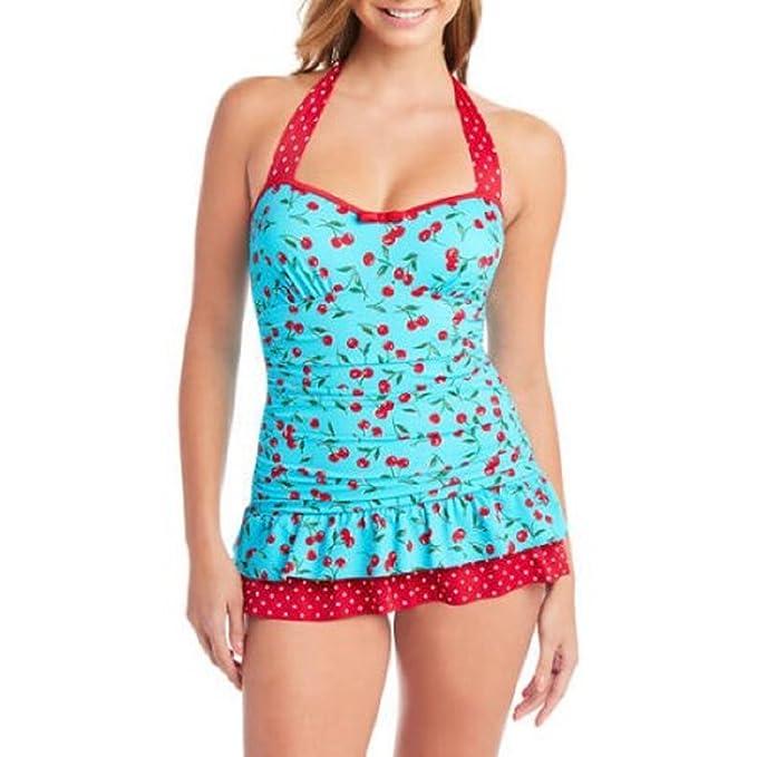f1909b5116c Suddenly Slim by Catalina Women s Slimming Retro Ruffled Swimdress ...