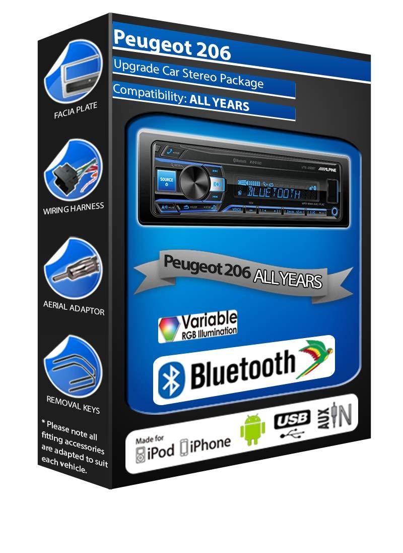 Alpine Peugeot 206 car radio UTE-200BT Bluetooth Handsfree Mechless Stereo