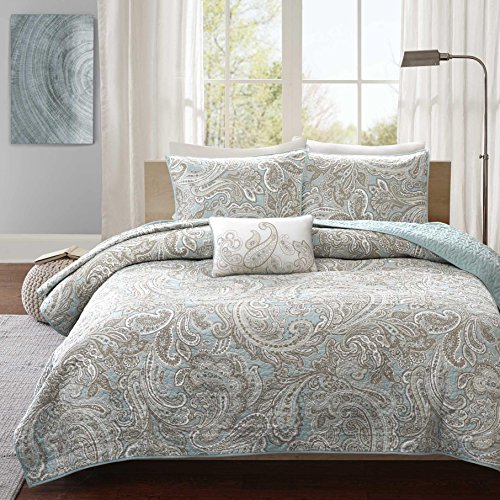 4 Piece Beautiful Blue Grey White King/Cal King Coverlet Set, Paisley Themed Bedding Shabby Chic Contemporary Classic French Country Cottage Pretty Stylish Taupe Trendy, Cotton by UKN