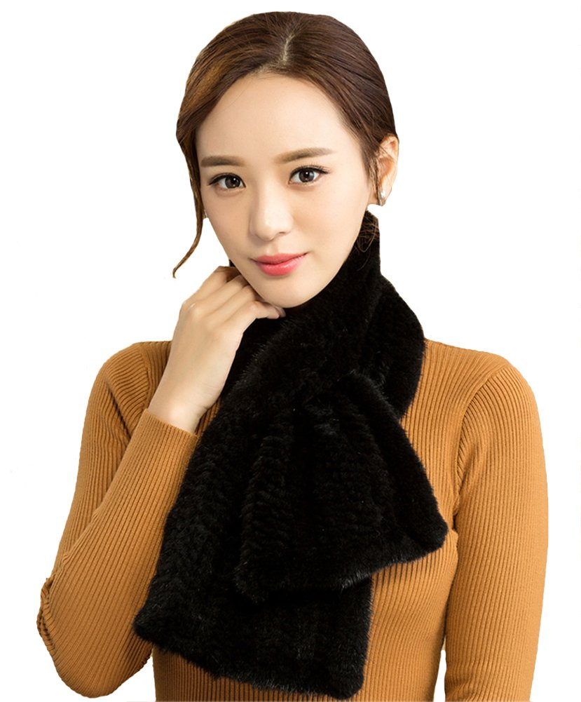 Queenshiny New Style Women's Knitted Mink Fur Scarf Black by Queenshiny