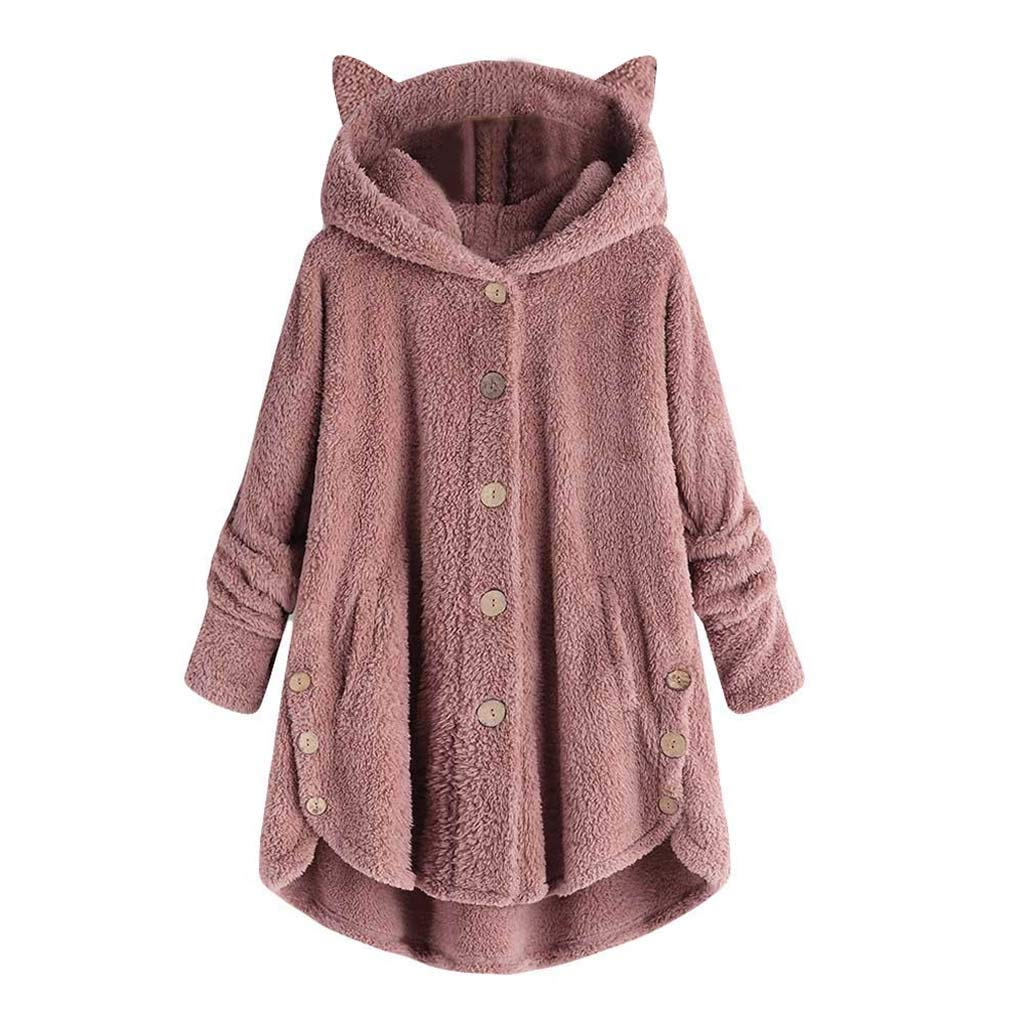 Pullover Sweaters for Women,2019 New Coat Ladies Bottoming Fluffy Tail Tops Loose Hooded Pullover Plus Size Chaofanjiancai Pink by Chaofanjiancai_Coat