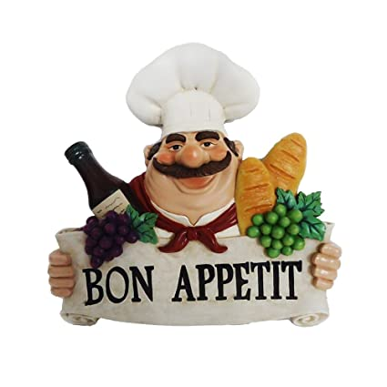 Amazon.com: Bon Appetit Fat Chef Wall Art Hanging Bistro Cooking ...