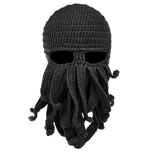 Funny Unisex Handmade Knit Winter Warm Ski Caps Octopus Windproof Mask  Black Hat b95f54deefa