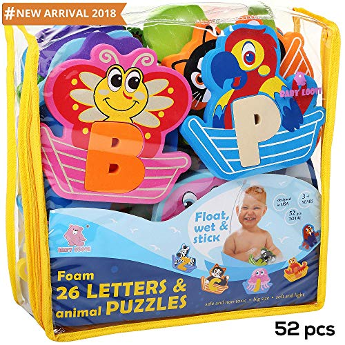 Foam Letters Bath Toys with FREE Bath Organizer Storage Bag for Boys Girls - Fun Educational Floating Toys - Early Learning Alphabet Colors Letters Shapes and Animals - Premium Set 52 Pcs - Non-Toxic