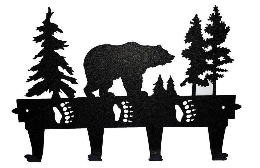 Grizzley Bear Decorative Metal Coat and Hat Rack