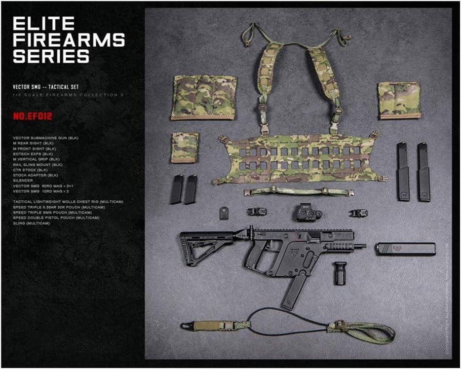 ZSMD DAMTOYS 1/6 Scale Elite Weapon Serie 3 Tactical Vector Stiletto - Juego de pistolas de máquina adecuadas para Dress Up HT VERYCOOL TBLeague Hottoy Phicen