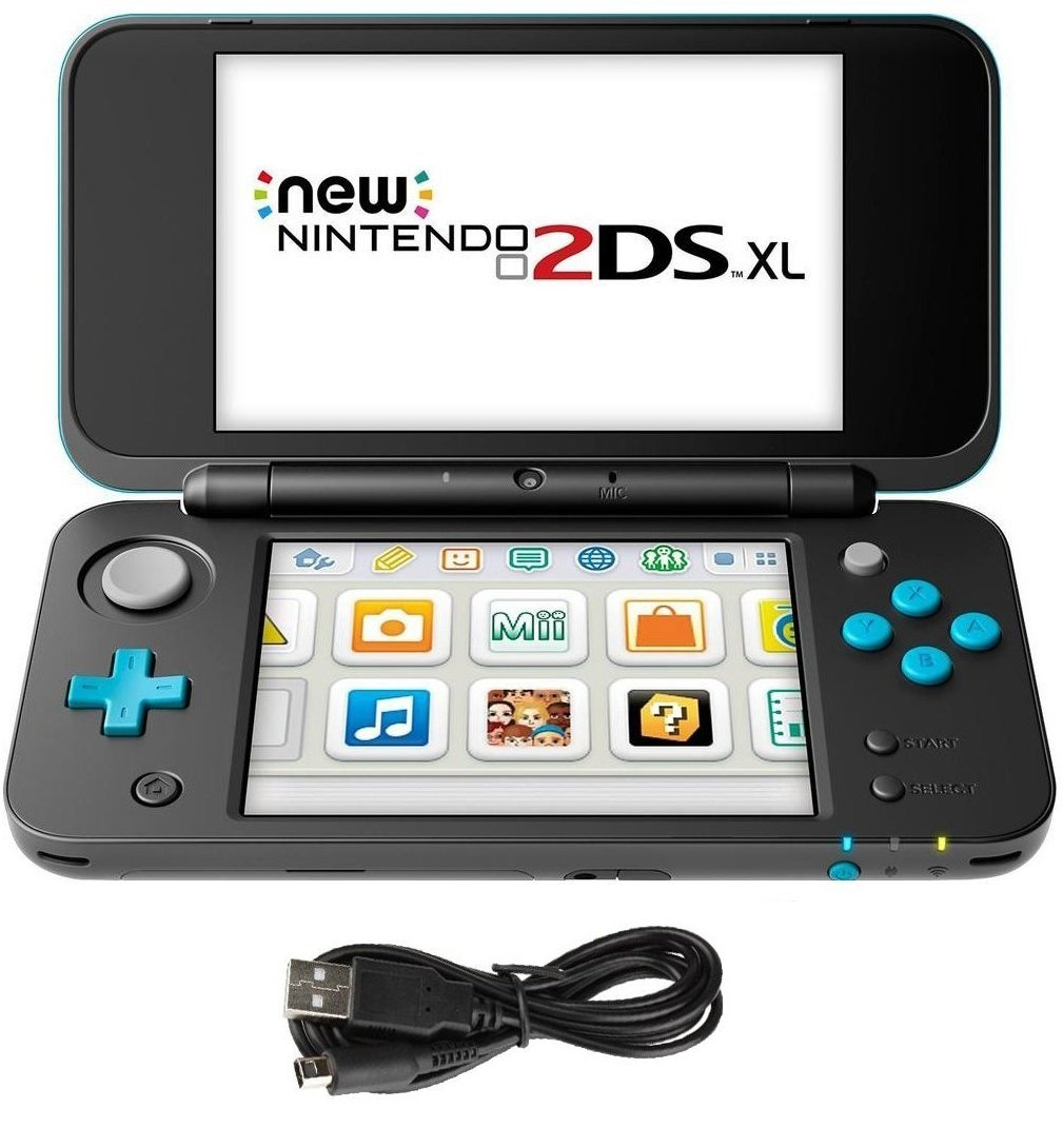 New Nintendo 2DS XL 3 Items Bundle: New Nintendo 2DS XL - Black + Turquoise Console, USB Sync Charge USB Cable and Mytrix Travel USB Wall Charger
