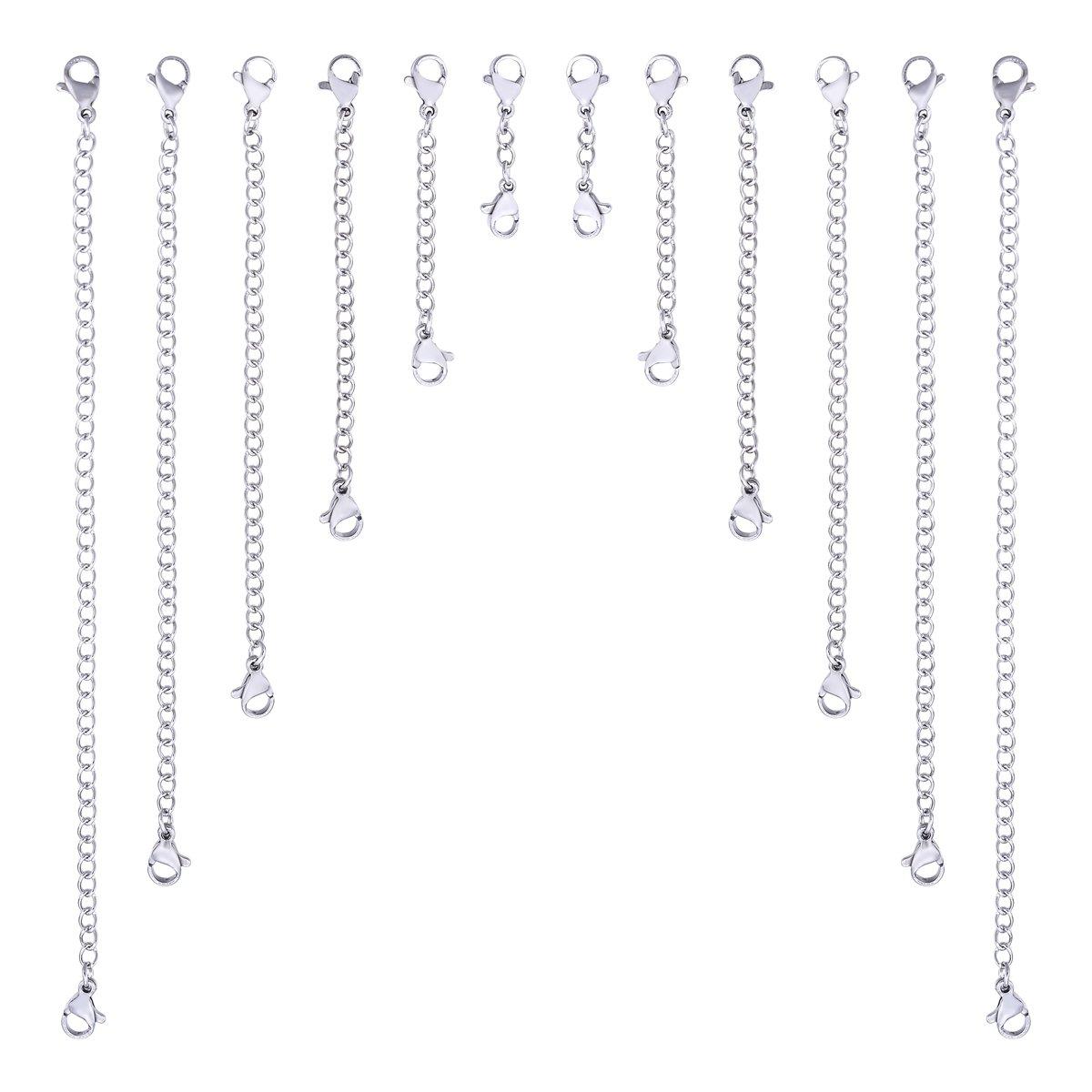 Lot de 10 cha/înes dextension en acier inoxydable argent/é avec 2 fermoirs mousquetons pour fabrication de bijoux 25mm-150mm Dull Silver Tone