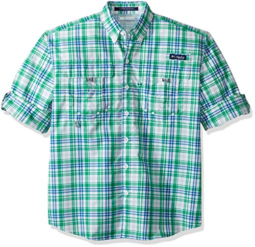 Columbia Sportswear Mens Super Bahama Long Sleeve Shirt, Dark Lime Multi Check, Large