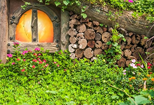 Leyiyi 10x6.5ft Photography Background Vintage Wooden Cottage Arch Door Flora Vine Leaves Wood Pile Trunk Sunny Spring Valentine's Day Backdrop Rustic Wedding Party Photo Portrait Vinyl Studio Prop