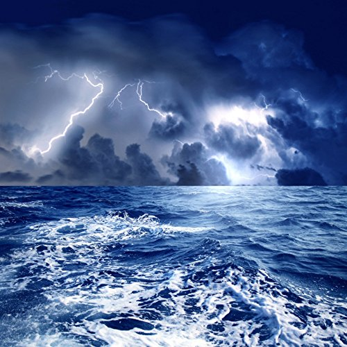 laeacco Sea Storm Lightning and Dark Clouds Backgroud 6.5 X 6.5ft Photography backdrorps Sailing釣りCoastal City Weather Natrural Seaside景色Artistic Studio小道具   B07DS9P69S