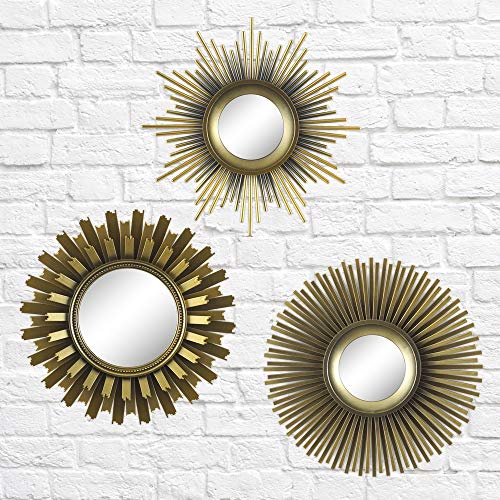 Pack of 3 - Better Homes and Gardens 3-Piece Round Sunburst Mirror Set in Gold Finish