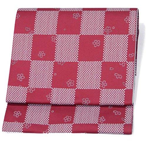 製造ミキサー常習的日本製 名古屋帯 洗える【赤 えんじ/ 桜?ドット市松 15413】八寸 お仕立て上がり 松葉仕立て