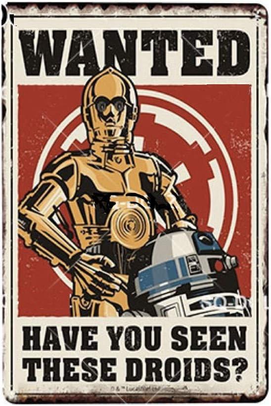Placa metálica de Star Wars R2D2 y Sispeo