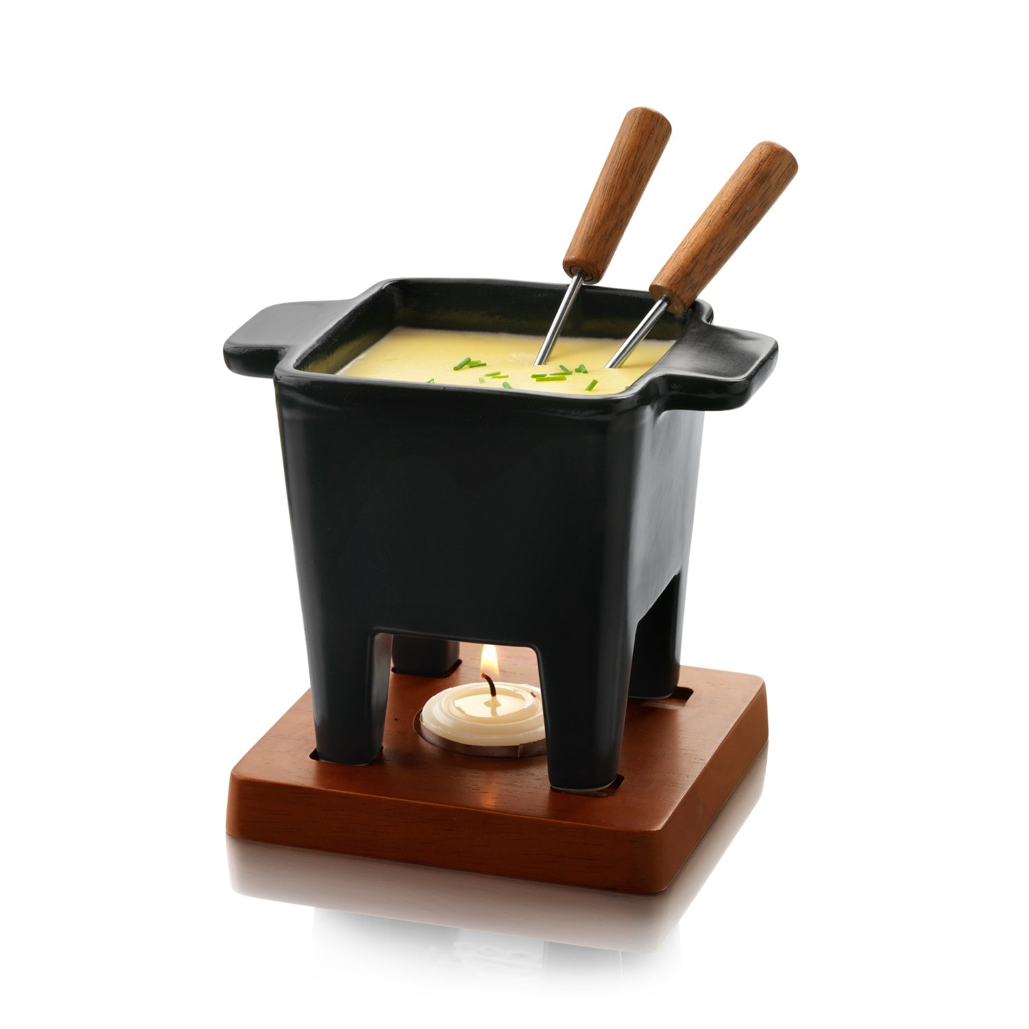 Boska Holland Tealight Fondue Set, For Cheese or Chocolate, Tapas, 200 mL Black, Pro Collection by Boska Holland (Image #1)