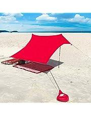 Qrout Carpa Playa con Ancla de Arena - Portátil Refugio Playa 100% Lycra UPF50+ UV