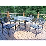 Oakland Living Mississippi Cast Aluminum 42-Inch Table, Hummingbird 5-Piece Dining Set Review