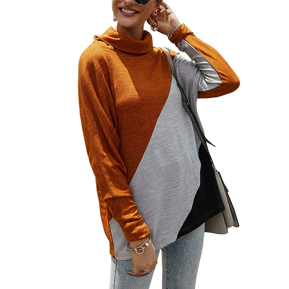 Women's Casual Turtleneck Knit Top Sweatshirt,Long Sleeve Patchwork Block Color Loose Pullover Sweater Blouse Orange by KINGLEN Womens Top