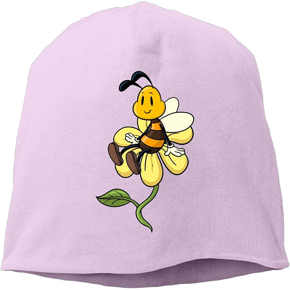 Janeither Headscarf Cute Bee with Flowers Hip-Hop Knitted Hat for Mens Womens Fashion Beanie Cap