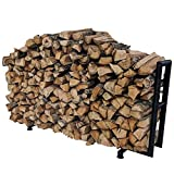 Titan Outdoors Rectangular Heavy Duty Outdoor Log Rack | 6 Feet, Black