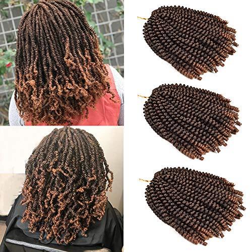 Leeons 3 Packs Fluffy Twist Hair Spring Twist Crochet Braiding Hair Nubian Twist Hair Bomb Twist Hair Passion Twist Hair Ombre Spring Curly Ombre Colors Synthetic Hair Extensions (#T1B/30)