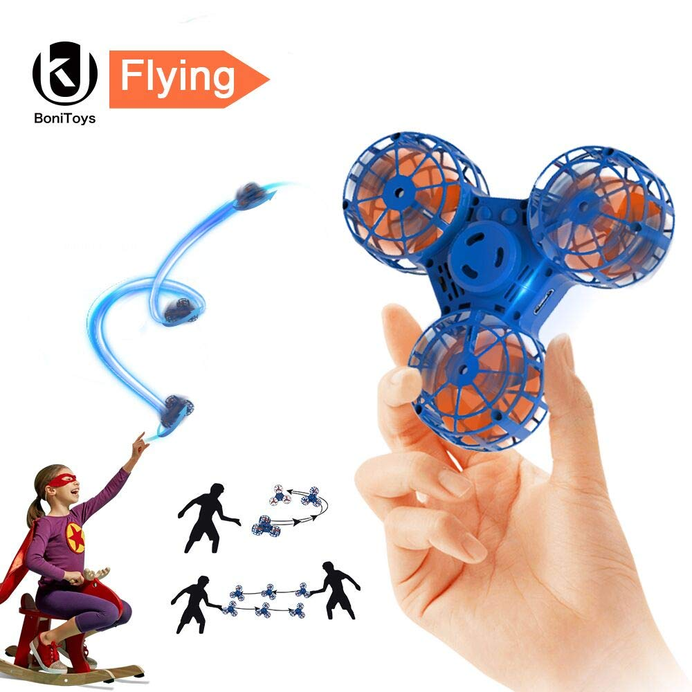 BoniToys Handheld Flying Fidget Spinner,Anti-Anxiety ADHD Relieving Reducer Outdoor Interactive Toys for Kids Adult, Blue